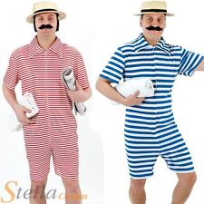 Mens 1920s Beach Hunk Bathing Suit Costume Victorian Fancy Dress Adult Outfit