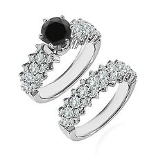 1.75 Ct Black Diamond Fancy Cluster Solitaire Wedding Ring Band 14K White Gold