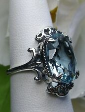 Oval Cut 5ct*Aquamarine* Sterling Silver Gothic Style Filigree Ring Size Any/MTO