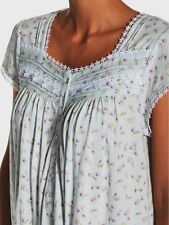 """Small Eileen West Lilac Floral Cotton Jersey Knit 43"""" Waltz Cap Slv Night gown"""