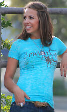 Original Cowgirl Clothing Co. COWGIRL Premium Cotton Tee Shirt Horse Turquoise