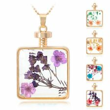 New Natural Real Dried Pressed Flower Long Necklace Square Glass Locket Pendant