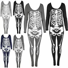 Womens Spooky Sexy Skull Jumpsuit Scary Dress Ladies Skeleton Fancy Costume