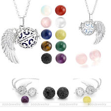 Silver Angel Wing Hollow Locket Wrap Natural Stone Pendant Chain Necklace Gift