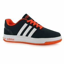 Adidas neo CloudFoam Hoops Trainers Mens Navy/White/Orange Casual Sneakers Shoes