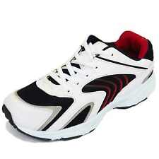 MENS WHITE LACE-UP SPORTS RUNNING WALKING GYM TRAINERS CASUAL SHOES PUMPS 5-12