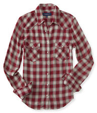 aeropostale womens long sleeve western plaid woven shirt