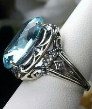 12ct Oval *Aquamarine*  Sterling Silver Retro Swirl Filigree Ring Size Any/MTO