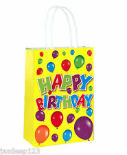 Happy Birthday Themed Paper Bags With Handles Childrens Unisex Birthday Fun