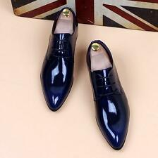 Mens pointy toe dress formal patent leather wedding shoes elevator increase size