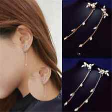 Elegant Long Tassel Korean Style Silver Plated Leaves Cubic Zircon Stud Earring