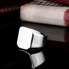 Simple Mens Womens Jewelry Smooth Square 316L Stainless Steel Ring HR187 Sz 7-13