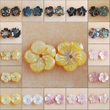 S3425-3444 Pair Wholesale Shell Carved Flower Pendant Beads