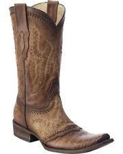 Corral Men's Narrow Square Toe Western Cowboy Leather Boots Tan Caiman C2998