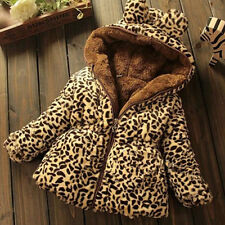 Toddler Kids Girls Warm Leopard Hooded Coat Jacket Thick Snowsuit Wool Outerwear