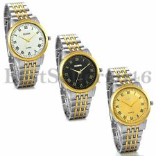 Mens Silver Gold Tone Stainless Steel Band Roman Numerals Quartz Wrist Watch