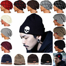 New Women Men Winter Warm Skull Knit Beanie Cap Reversible Baggy Wool Hat Unisex