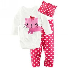New Baby Girls Cartoon Animal Clothing Set Romper Pants Hat 3 Pcs/Outfit Suit