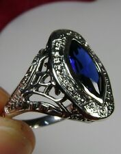 2.5ct Mq *Sapphire* Sterling Silver Antique Victorian Filigree Ring Size Any/MTO