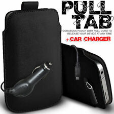 LEATHER PULL TAB POUCH SKIN CASE COVER + CAR CHARGER FOR VARIOUS MOTOROLA MOBILE
