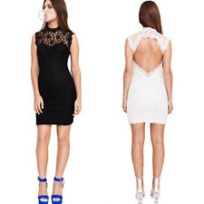 Women Sexy Lace Backless Back Open Sleeveless Cocktail Party Clubwear Mini Dress