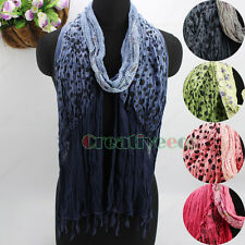Vintage Gradient Stitching Dot&Floral Tassel Crinkle Cotton Gauze Long Scarf New