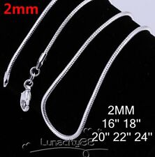 """Round Snake Chain 2MM Necklace Wholesale Bulks Silver Plated Chains 18""""~24inch"""