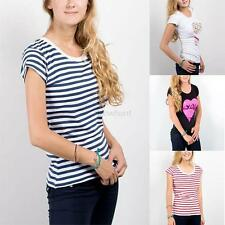 Womens Summer Short Sleeve Striped Tee Blouse Casual Cotton Top T-Shirt Clothes