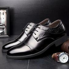 Fashion Mens lace up dress formal business wedding leather shoes black brown