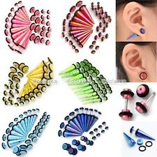 20pc Acrylic Spots Taper + Barbell Bars Fake Cheater Illusion Ear Plugs Earrings