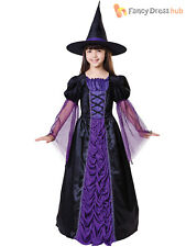 Childrens Black & Purple Witch Costume Girl Witches Halloween Fancy Dress Outfit