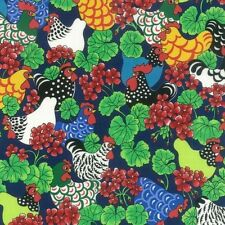 Multi Coloured Hens And Geraniums 100% Cotton Fabric (Nutex)