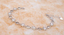 Ladies Stunning 18K White Gold GP Fashion Bracelet with Crystals Jewelry