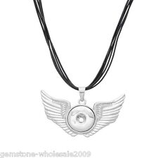 Wholesale Lots Leather Snap Necklace Pendant Fit Snap Button Angel Wing 47cm