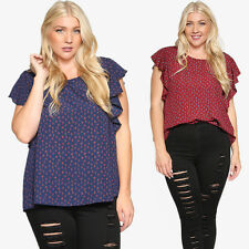 TheMogan Women's Plus Size Printed Ruffle Short Sleeve Top Dressy Casual Blouse