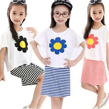 2 Pcs Kids Baby Girls Short Sleeve T-shirt+Stripe Dress Set Summer Dress Outfits