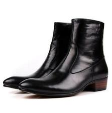 Mens Vintage ankle Boots Leather Pointy Toe zip up Dress Formal High Top shoes
