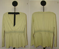 Banana Republic Green or Beige Long Sleeve Deep V Neck Peasant Top Sizes XS or M