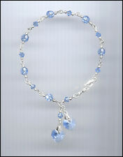 Beautiful Sterling Charm Bracelet w/ Swarovski LIGHT BLUE Crystal Hearts