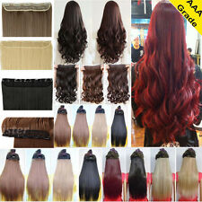 UK Real Thick Long New 3/4 Full Head as Human Clip in Hair Extensions Synthetic