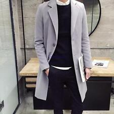 Mens Long Trench Coat Single-breasted Wool Blend Slim Fit Outwear Jacket parka