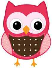 """6.5-10.5""""  PINK OWL NURSERY WALL STICKER GLOSSY BORDER CHARACTER CUT OUT"""