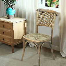 Adeco Elm Wood Vintage Style Dining Chair with Rattan Seat and Back
