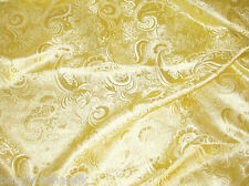 "GOLDEN GOLD PAISLEY METALLIC BROCADE FABRIC 60""W DRAPE SKIRT JACKET COSTUME"