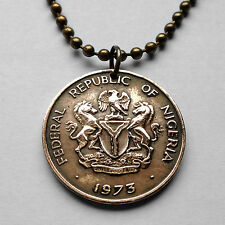 Nigeria 1 Kobo coin pendant Nigerian necklace horses eagle West Africa n001572