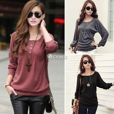 Fashion Women's Batwing Top Dolman Cotton Loose T-Shirt Blouse Top Long Sleeve