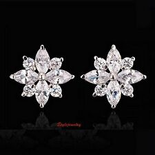 White Gold Filled Clear Swarovski Crystal Bridal Flower Cluster Stud Earring IE8