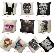 "Linen White Tattoo Skull 18"" Decorative Cushion Cover Throw Pillow Case Cotton"