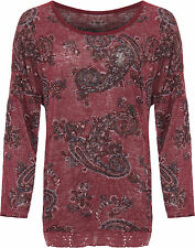 Womens Plus Knitted Baggy Top Ladies Paisley Print Long Sleeve Loose