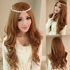 New Womens Girls 4 Colors Long Wavy Wig Full Wigs Cosplay Party Loose Curly Hair